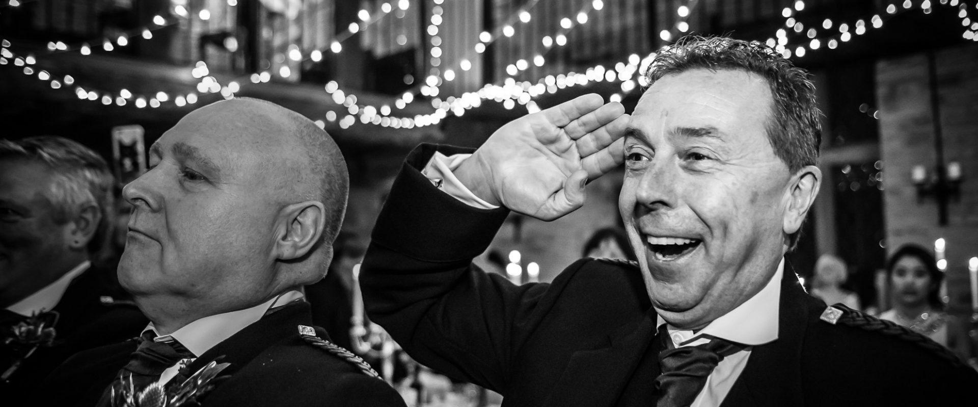 guest spontaneously snaps a salute