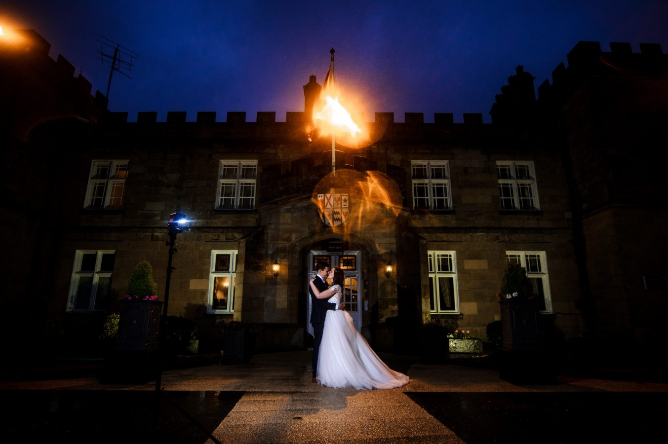 Bride-and-groom-outside-dunkenhalgh-hotel