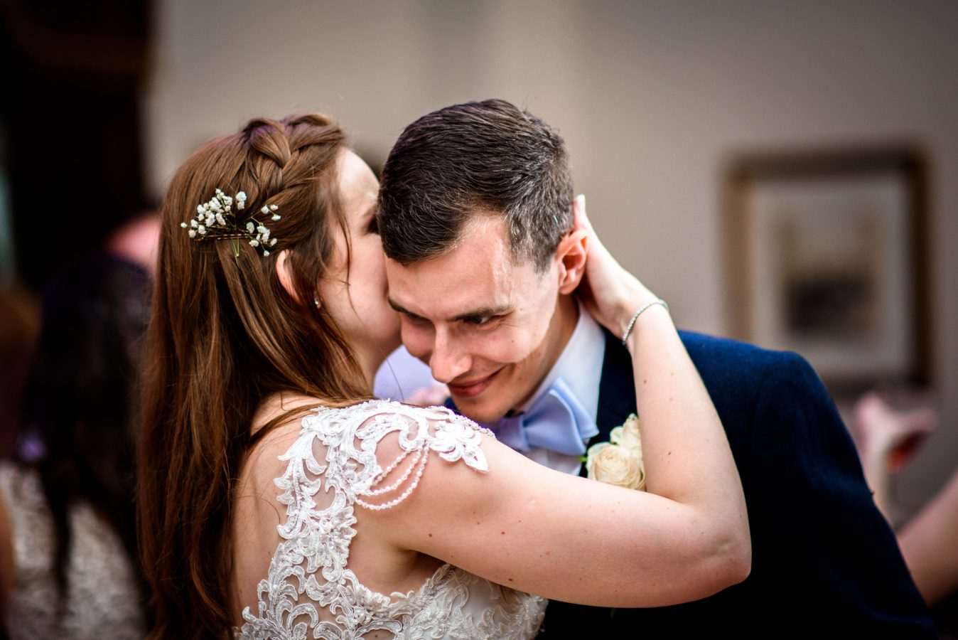 bride-charlotte-whispering-to-groom -dunkenhalgh-hotel