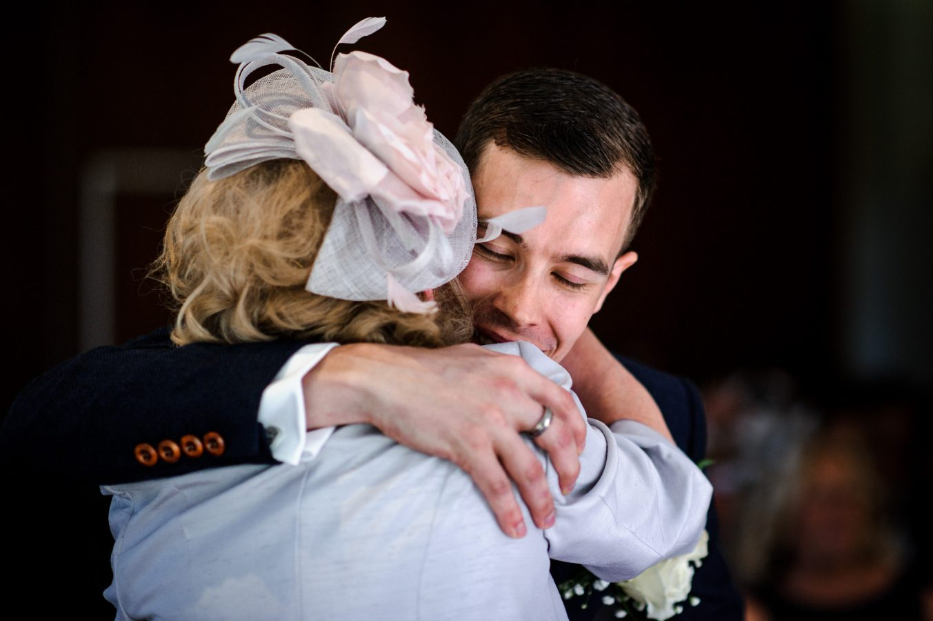 groom-and-mother-emotional-hug-dunkenhalgh-hotel